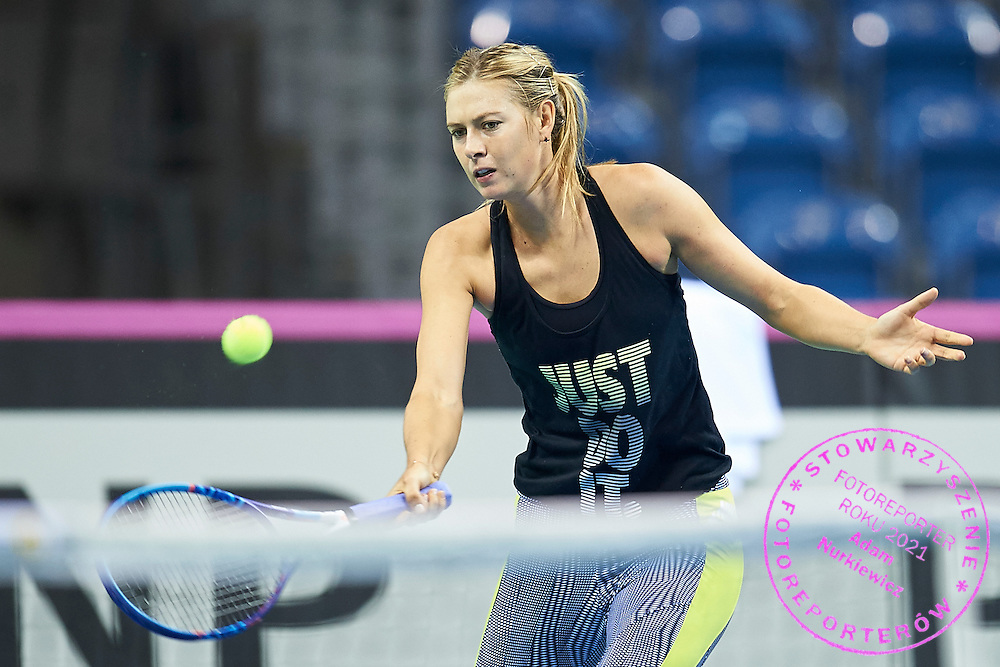 Maria Sharapova from Russia during official training session three days before the Fed Cup / World Group 1st round tennis match between Poland and Russia at Krakow Arena on February 4, 2015 in Cracow, Poland<br /> Poland, Cracow, February 4, 2015<br /> <br /> Picture also available in RAW (NEF) or TIFF format on special request.<br /> <br /> For editorial use only. Any commercial or promotional use requires permission.<br /> <br /> Mandatory credit:<br /> Photo by &copy; Adam Nurkiewicz / Mediasport