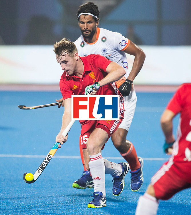 BHUBANESWAR - The Odisha Men's Hockey World League Final . Match ID 06 . India v England. Chris Griffiths (Eng) with Rupinder Pal Singh (Ind).     WORLDSPORTPICS COPYRIGHT  KOEN SUYK