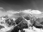 Aerial view of Denali (Mt. McKinley) and the Alaska Range on a sightseeing flight from Talkeetna, Alaska.