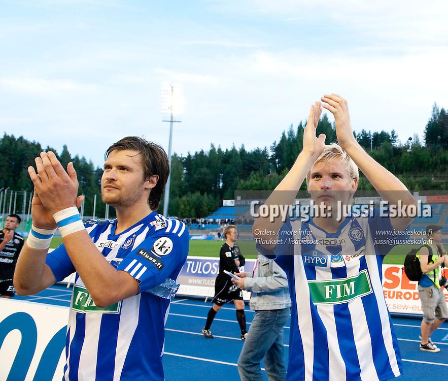 Peter Magnusson, Juhani Ojala.  FC Lahti - HJK. Veikkausliiga. Lahti 22.8.2010. Photo: Jussi Eskola
