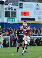 Sam Williams of Wakefield Trinity Wildcats kicks for goal during the Pre-season Friendly match at Belle Vue, Wakefield<br /> Picture by Richard Land/Focus Images Ltd +44 7713 507003<br /> 15/01/2017
