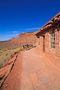 The west cabin and the Vermilion Cliffs, Pipe Spring National Monument, Arizona