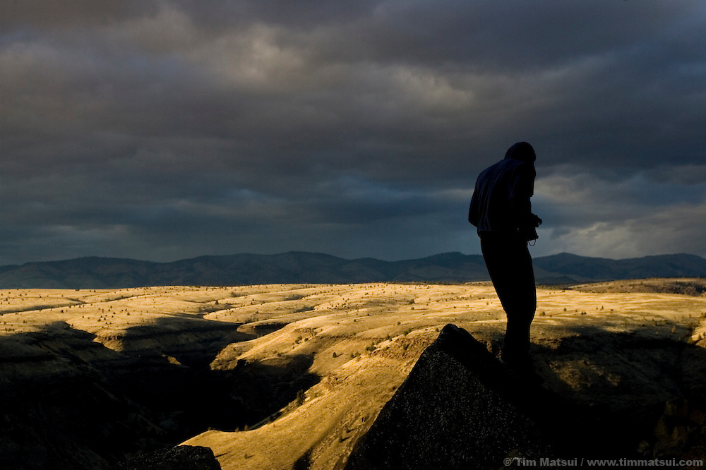 A lone person looks over the high desert landscape near Bend, Oregon.