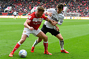 Tomas Kalas (22) of Bristol City battles for possession with Mason Mount (8) of Derby County during the EFL Sky Bet Championship match between Bristol City and Derby County at Ashton Gate, Bristol, England on 27 April 2019.