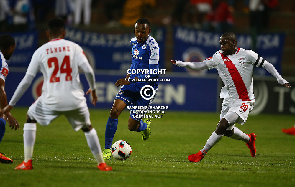 Thabo Mnyamane of SuperSport United during the 2016 Premier Soccer League match between Supersport United and The Free Stat Stars held at the King Zwelithini Stadium in Durban, South Africa on the 24th September 2016<br /> <br /> Photo by:   Steve Haag / Real Time Images