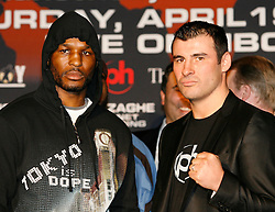 February 19, 2008; Newark, NJ, USA;  Ring Magazine Light Heavyweight Champion Bernard Hopkins (l) and Ring Magazine Super Middleweight Champion Joe Calzaghe (r) face off at the press conference announcing their April 19, 2008 fight.  The two will meet at the Thomas & Mack Center in Las Vegas, NV.