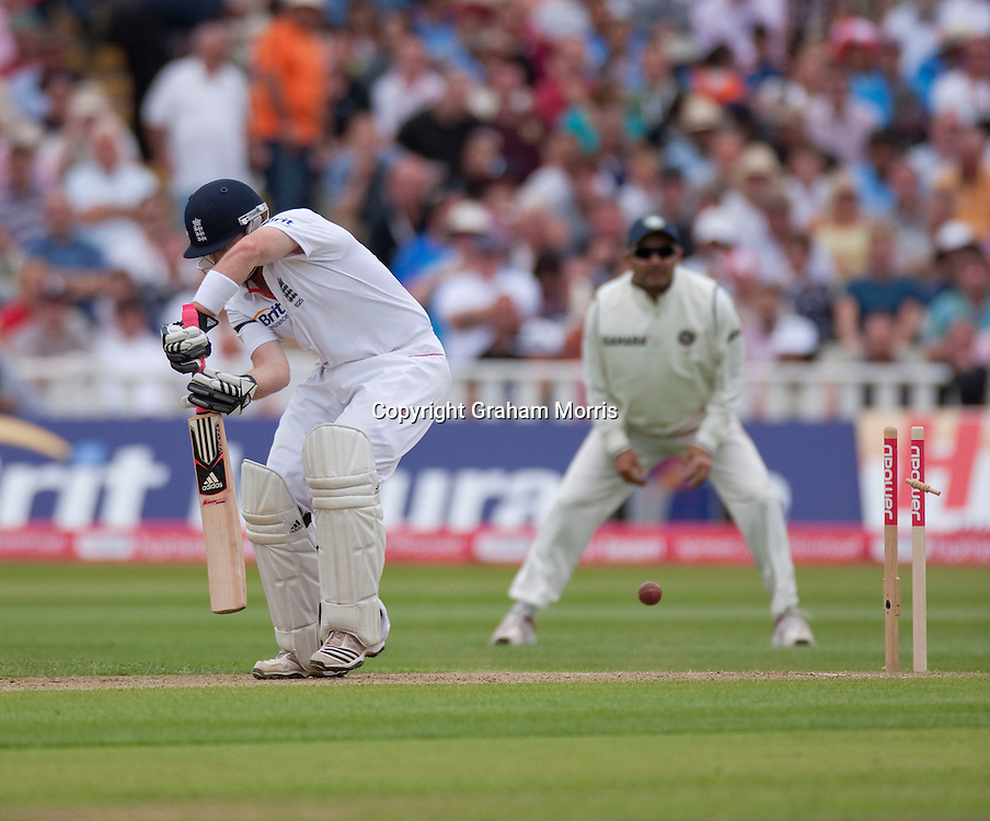 Ian Bell is bowled by Praveen Kumar during the third npower Test Match between England and India at Edgbaston, Birmingham.  Photo: Graham Morris (Tel: +44(0)20 8969 4192 Email: sales@cricketpix.com) 11/08/11