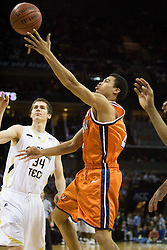 Virginia guard Mustapha Farrakhan (2) shoots past Georgia Tech forward Brad Sheehan (34).  The Virginia Cavaliers fell to the Georgia Tech Yellow Jackets 94-76  in the first round of the 2008 ACC Men's Basketball Tournament at the Charlotte Bobcats Arena in Charlotte, NC on March 13, 2008.