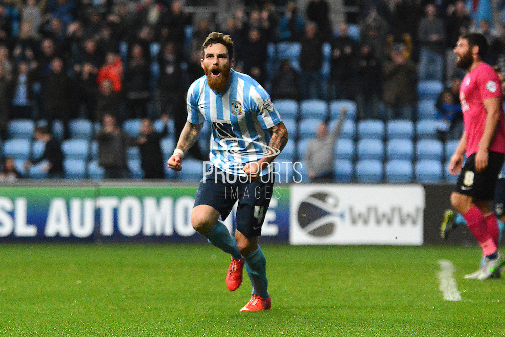 Coventry City midfielder Romain Vincelot celebrates goal during the Sky Bet League 1 match between Coventry City and Peterborough United at the Ricoh Arena, Coventry, England on 31 October 2015. Photo by Alan Franklin.