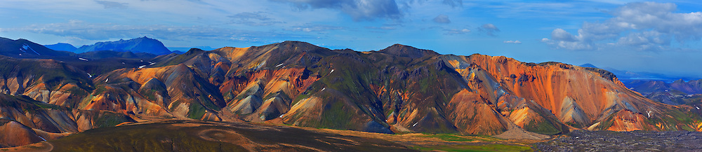Landmannalaugar panoramic landscape with rainbow colored ore deposits from volcanic eruptions.