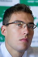 Jerzy Janowicz of Poland while press conference three days before the BNP Paribas Davis Cup 2014 between Poland and Croatia at Torwar Hall in Warsaw on April 1, 2014.<br /> <br /> Poland, Warsaw, April 1, 2014<br /> <br /> Picture also available in RAW (NEF) or TIFF format on special request.<br /> <br /> For editorial use only. Any commercial or promotional use requires permission.<br /> <br /> Mandatory credit:<br /> Photo by © Adam Nurkiewicz / Mediasport