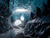 Inside an Ice cave in Breiðármerkjurjökull glacier, Part of Vatnajökull Glacier, Southeast Iceland.