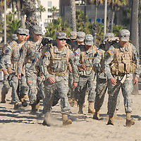UCLA ROTC Army Cadets march on Santa Monica Beach while carrying 50 pound Rucksacks on Saturday, October 9, 2010. The UCLA ROTC cadets are training for their upcoming annual Ranger Challenge...