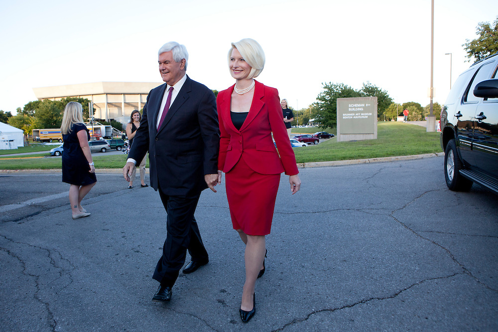 Republican presidential candidate Newt Gingrich and his wife Callista Gingrich arrive at the Republican presidential debate on Thursday, August 11, 2011 in Ames, IA.