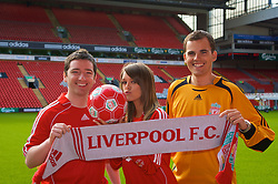 LIVERPOOL, ENGLAND - Thursday, September 6, 2007: Liverpool FC.TV presenters Peter McDowall, Claire Rourke and Matt Critchley at Anfield. (Photo by David Rawcliffe/Propaganda)