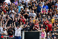 Apr 23, 2016; Phoenix, AZ, USA;  Fans cheer after Arizona Diamondbacks outfielder David Peralta (not pictured) hits a solo home run in the third inning at Chase Field. The Arizona Diamondbacks won 7-1. Mandatory Credit: Jennifer Stewart-USA TODAY Sports