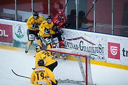 Ivan Althuber vs RODMAN David during Alps Hockey League match between HC Pustertal and HDD SIJ Jesenice, on April 3, 2019 in Ice Arena Podmezakla, Jesenice, Slovenia. Photo by Peter Podobnik / Sportida