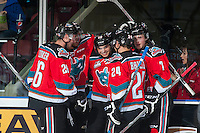 KELOWNA, CANADA - OCTOBER 31: Nick Merkley #10 and the Kelowna Rockets celebrate a first period goal against the Lethbridge Hurricanes on October 31, 2015 at Prospera Place in Kelowna, British Columbia, Canada.  (Photo by Marissa Baecker/Shoot the Breeze)  *** Local Caption *** Nick Merkley;