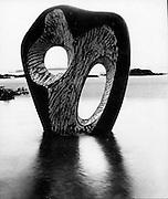 Hepworth sculpture on beach