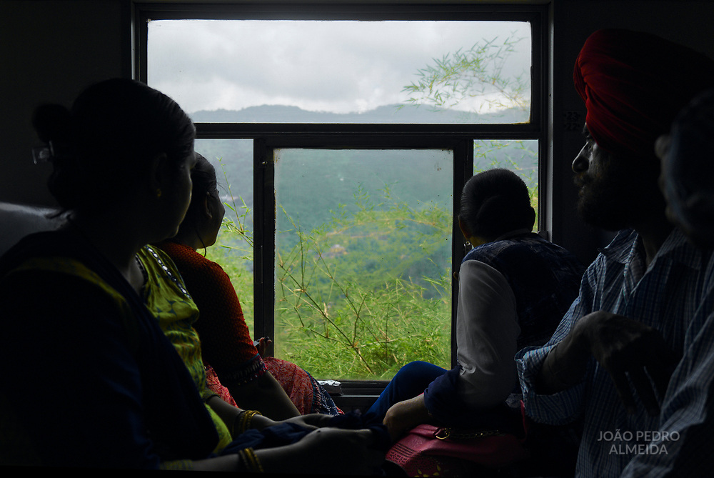 """The narrow """"toy train"""" (small, narrow-gauge train) that slowly climbs the almost 100km from the plains of Kalka to Shimla, sitting on top of the Lower Himalayas."""