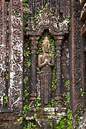 A close-up of a stone carving on Tower B5 a 10th century Cham Temple at the My Son Sanctuary, Quang Nam Province, Vietnam, Southeast Asia