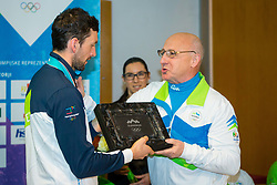 Bogdan Gabrovec and Jakov Fak during Arrival of Jakov Fak, Silver medalist at Olympic Games in Pyeongchang 2018, on February 25, 2018 in Aerodrom Ljubljana, Letalisce Jozeta Pucnika, Kranj, Slovenia. Photo by Ziga Zupan / Sportida