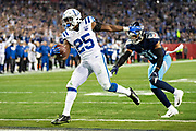NASHVILLE, TN - DECEMBER 30:  Marlon Mack #25 of the Indianapolis Colts runs the ball up the middle for a touchdown during a game against the Tennessee Titans at Nissan Stadium on December 30, 2018 in Nashville, Tennessee.  The Colts defeated the Titans 33-17.   (Photo by Wesley Hitt/Getty Images) *** Local Caption *** Marlon Mack