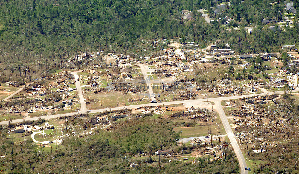 Aerial photograph of tornado damage near Tuscaloosa, Alabama, Friday, April 29, 2011.aerial photograph of tornado damage in , Alabama, Friday, April 29, 2011