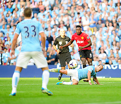 Manchester United's Danny Welbeck takes a shot at goal. - Photo mandatory by-line: Dougie Allward/JMP - Tel: Mobile: 07966 386802 22/09/2013 - SPORT - FOOTBALL - City of Manchester Stadium - Manchester - Manchester City V Manchester United - Barclays Premier League