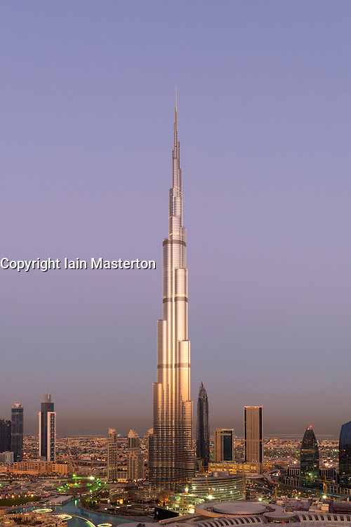 Burj Khalifa and skyline of Downtown Dubai at sunrise in United Arab Emirates