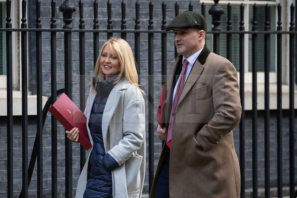 © Licensed to London News Pictures. 11/02/2020. London, UK. Minister of State for Housing Esther McVey and Minister for the Northern Powerhouse and Local Growth Jake Berry arriving in Downing Street to attend a Cabinet meeting this morning. An announcement on the high speed rail line 'HS2' is expected today.  Photo credit : Tom Nicholson/LNP