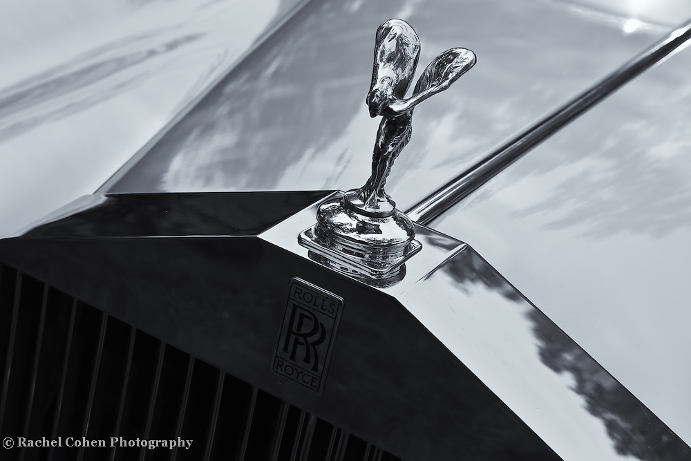 &quot;Rockin the Rolls&quot; mono<br /> <br /> The classic Rolls Royce hood ornament and grille view in black and white!!<br /> <br /> Cars and their Details by Rachel Cohen