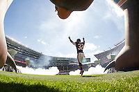06 October 2013: Running back (32) Michael Ford of the Chicago Bears enters the field during player introductions before the New Orleans Saints 26-18 victory over the Bears in an NFL Game at Soldier Field in Chicago, IL.