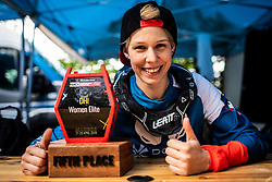 Monika Hrastnik of Slovenia with trophy for 5th place at Mercedes-Benz UCI Mountain Bike World Cup competition final day in Bike Park Pohorje, Maribor on 28th of April, 2019, Slovenia. Photo by Grega Valancic / Sportida