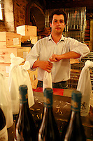winemaker Louis-Michel Liger-Belair in the bottling room at his Chateau in Vosne-Romanee, Burgundy...Photo by Owen Franken for the NY Times..May 27, 2008.