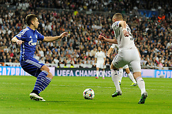 10.03.2015, Estadio Santiago Bernabeu, Madrid, ESP, UEFA CL, Real Madrid vs Schalke 04, Achtelfinal, R&uuml;ckspiel, im Bild Real Madrid&acute;s Karim Benzema and FC Shalke 04&acute;s Matija Nastasic // during the UEFA Champions League Round of 16, 2nd Leg match between Real Madrid and Schakke 04 at the Estadio Santiago Bernabeu in Madrid, Spain on 2015/03/10. EXPA Pictures &copy; 2015, PhotoCredit: EXPA/ Alterphotos/ Luis Fernandez<br /> <br /> *****ATTENTION - OUT of ESP, SUI*****