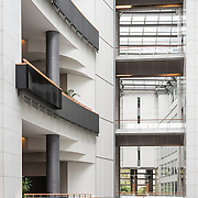 An open atrium in part of the European Parliament Building in Brussels, Belgium.