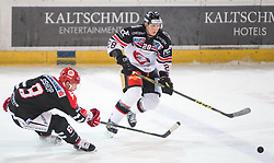 13.12.2015, Tiroler Wasserkraft Arena, Innsbruck, AUT, EBEL, HC TWK Innsbruck die Haie vs HC Orli Znojmo, 30. Runde, im Bild vl.:  Hunter Bishop (HC TWK Innsbruck Die Haie), Marek Biro (HC Orli Znojmo) // during the Erste Bank Icehockey League 30th round match between HC TWK Innsbruck  die Haie and HC Orli Znojmo at the Tiroler Wasserkraft Arena in Innsbruck, Austria on 2015/12/13. EXPA Pictures © 2015, PhotoCredit: EXPA/ Jakob Gruber
