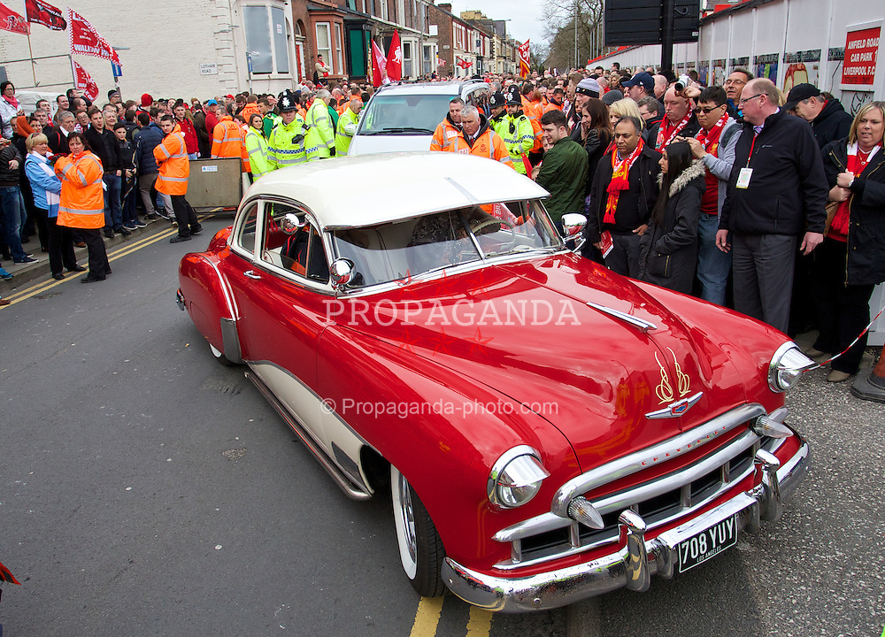 LIVERPOOL, ENGLAND - Sunday, April 13, 2014: An old 1950's Chevrolet outside Anfield. (Pic by David Rawcliffe/Propaganda)