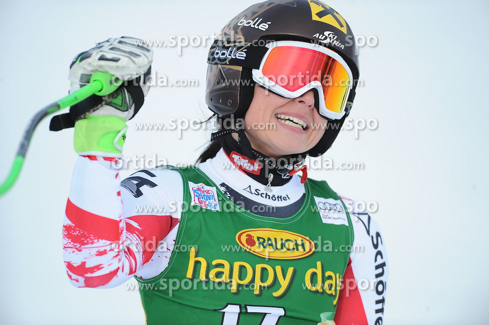 19.01.2015, Olympia delle Tofane, Cortina d Ampezzo, ITA, FIS Weltcup Ski Alpin, Super G, Damen, im Bild Anna Fenninger (AUT, 2. Platz) // 2nd placed Anna Fenninger of Austria reacts after her run of the ladies SuperG of the Cortina FIS Ski Alpine World Cup at the Olympia delle Tofane course in Cortina d Ampezzo, Italy on 2015/01/19. EXPA Pictures © 2015, PhotoCredit: EXPA/ Erich Spiess