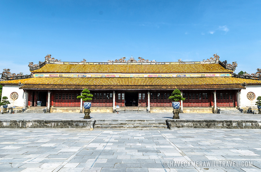 One of the few restored buildings at the Imperial City in Hue, Vietnam. A self-enclosed and fortified palace, the complex includes the Purple Forbidden City, which was the inner sanctum of the imperial household, as well as temples, courtyards, gardens, and other buildings. Much of the Imperial City was damaged or destroyed during the Vietnam War. It is now designated as a UNESCO World Heritage site.