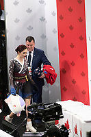 KELOWNA, BC - OCTOBER 26: Russian figure skater Evgenia Medvedeva and coach Brian Orser await the score of ladies long program of Skate Canada International held at Prospera Place on October 26, 2019 in Kelowna, Canada. (Photo by Marissa Baecker/Shoot the Breeze)