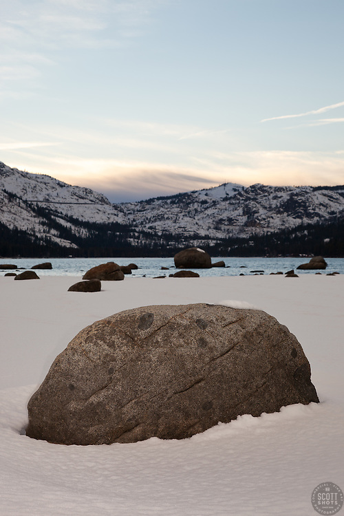 """Boulders at Donner Lake"" - These boulders in the snow were photographed in the afternoon along the shore of Donner Lake in Truckee, California."