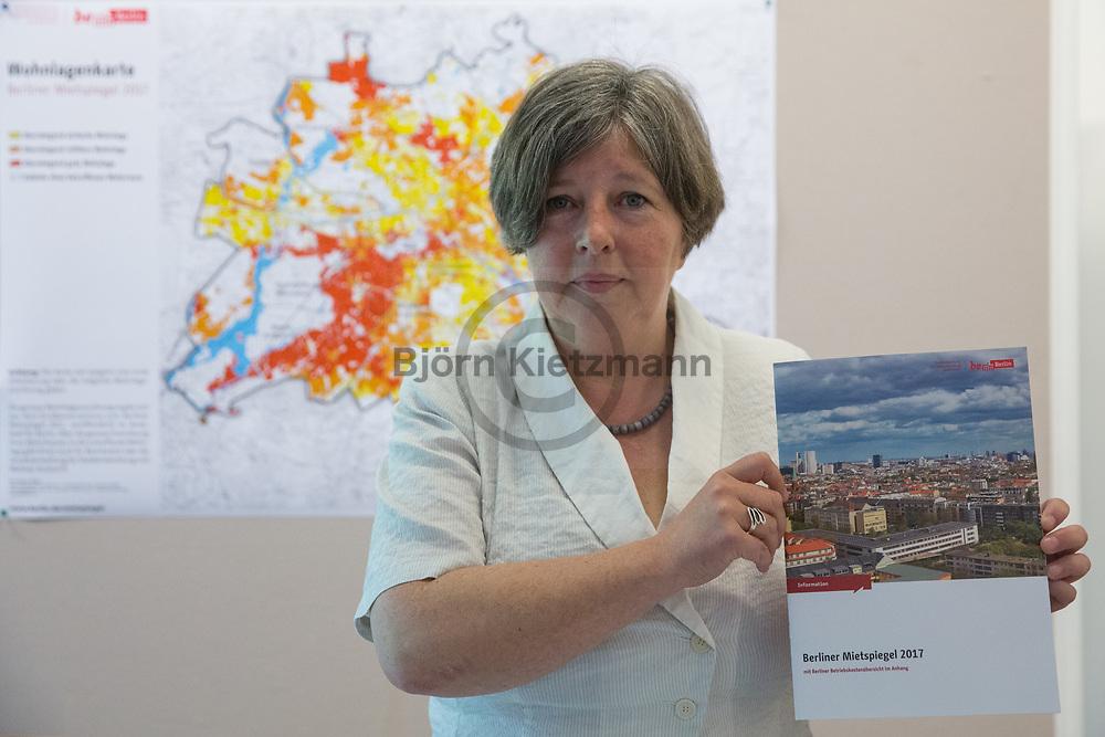 Berlin, Germany - 19.05.2017<br /> <br /> Presentation of the Berlin rent index 2017 by Katrin Lompscher, Senator for Urban Development and Housing.<br /> <br /> Vorstellung des Berliner Mietspiegel 2017 durch Katrin Lompscher, Senatorin f&uuml;r Stadtentwicklung und Wohnen.<br /> <br /> Photo: Bjoern Kietzmann