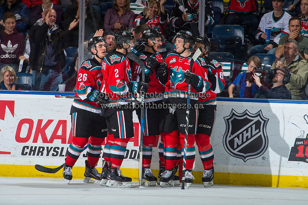 KELOWNA, CANADA - NOVEMBER 10: James Hilsendager #2, Liam Kindree #26, Carsen Twarynski #18, Conner Bruggen-Cate #20 and Gordie Ballhorn #4 of the Kelowna Rockets celebrate a goal against the Vancouver Giants on November 10, 2017 at Prospera Place in Kelowna, British Columbia, Canada.  (Photo by Marissa Baecker/Shoot the Breeze)  *** Local Caption ***