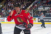 KELOWNA, CANADA - APRIL 7: Brett Clayton #24 of the Portland Winterhawks heads to the bench after an injury on the ice against the Kelowna Rockets on April 7, 2017 at Prospera Place in Kelowna, British Columbia, Canada.  (Photo by Marissa Baecker/Shoot the Breeze)  *** Local Caption ***