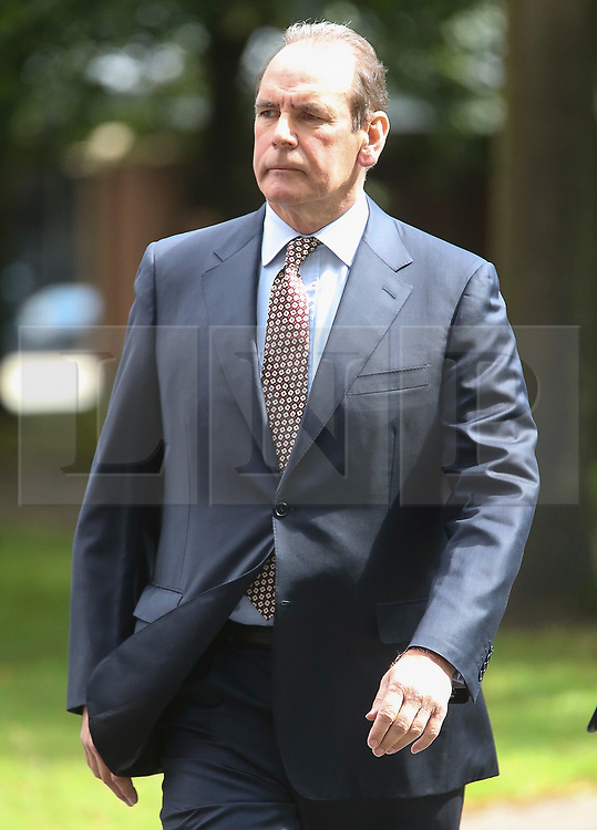 © Licensed to London News Pictures. 09/08/2017. Warrington, UK. Former West Yorkshire Police Chief Sir Norman Bettison arrives at Warrington Magistrates Court. Former West Yorkshire Police Chief Sir Norman Bettison, former police officers Donald Denton and Alan Foster, South Yorkshire Police solicitor Peter Metcalf, and former Sheffield Wednesday secretary and safety officer Graham Mackrell are appearing at Warrington Magistrates Court today to face charges relating to the Hillsborough tragedy where 96 people died in 1989. Photo credit: Andrew McCaren/LNP