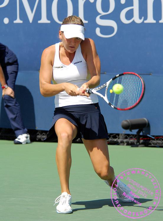 New York Flushing Meadow US Open Tennis 28.08.2008 D1.JAgnieszka Radwanska (POL) wins second round match.Photo Anne Parker Fotosports International..
