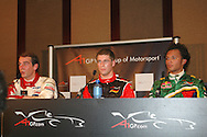 DURBAN, South Africa, Jeroen Bleekemole of Team Netherlands (1st 1:18.738), Michael Ammermuller of Team Germany (2nd 1:19.051)  & Adrian Zaugg of Team South Africa (6th 1:19.567) at the press conference during the Friday practice sessions held as part of the A1GP race weekend in Durban, South Africa on Friday 22 February 2008. Photo: SportsPics/SPORTZPICS