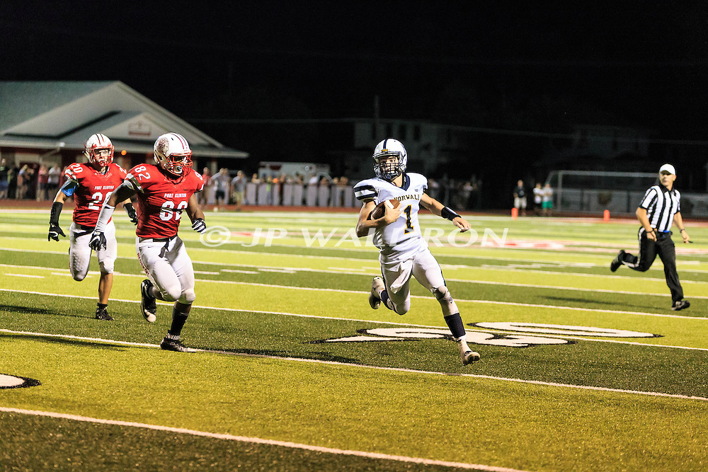 August 25, 2016: Norwalk Truckers Trenton Morrow (1) rushes towards the end zone during the Thursday Night Season Opener game between the Norwalk Truckers vs Port Clinton Redskins at the Tru-Lay Stadium in Port Clinton, Ohio. FINAL: Norwalk 17 vs. Port Clinton 28